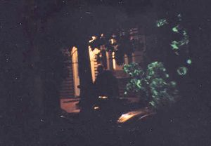 "This photograph is a <u>time lapse</u> through a duplicate telescopic sight as the defendant's. It was taken on a night with duplicate moon data, duplicate cloud cover and duplicate other factors. One can barely see the reticule (crosshairs) nor the fellow in the chair. Of course, one problem is that the ""fellow"" in the chair is actually an oversized stuffed Teddy Bear who the Judge did <u>not</u> allow to testify at trial. Theodore was not amused at his being muzzled. Both Theodore and I were under the mistaken impression that bi-pedal marsupials were only native to Australia."